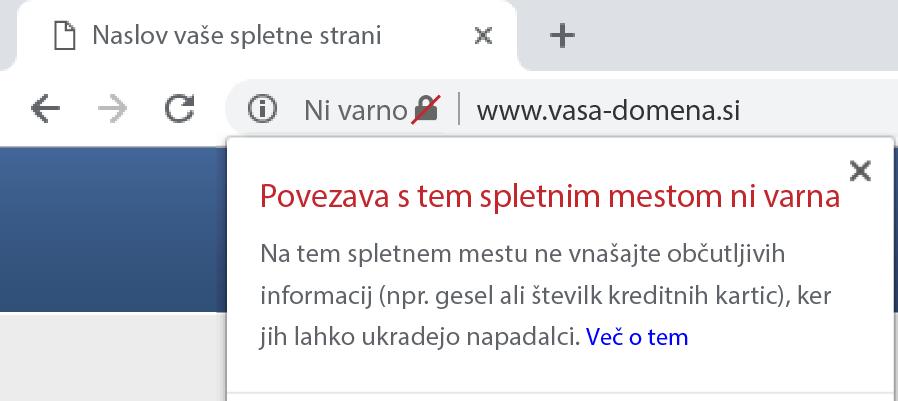Prikaz ne varne spletne strani brez SSL certifikata